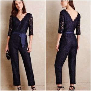 Elevenses Anthropologie Navy Lace-Sleeve Jumpsuit